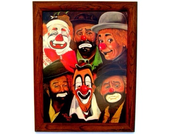 Vintage Clown Art || 28 x 22 Framed Sally Evans Lithograph | World Famous Clowns | Coulrophobia Beware