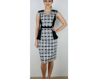 Womens black and white peplum dress,races dress, racing fashion dress, one of a kind, made in Australia