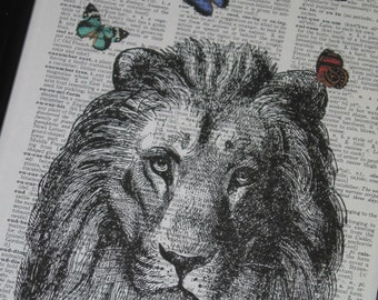 Lion Dictionary Art Print Lion and Butterflies Print  Dictionary Art Dictionary Print HHP Original Concept and Design