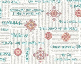 SALE !!!! A Royal Princess, Teal Phrases on White Cotton Woven, Quilting Treasures