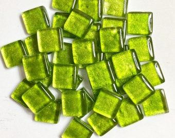 Lime Kiwi Green Metallic Mosaic Tiles/Mosaic Supply/Mosaics/Craft/Jewelry