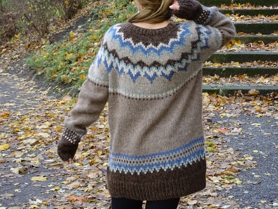 Fair sweater to Icelandic pattern sweater Icelandic Nordic sweater wool isle ship sweater sweater Alpaca knitted Hand Ready knit Norvegian BqIBr