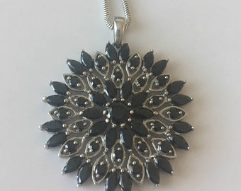 Sterling silver Black Cubic zirconia necklace, beautiful cz pendant
