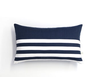 Striped Lumbar Pillow Cover in Navy and Cream Breton Stripes by JillianReneDecor (12x20) - Modern Home Decor - Nautical
