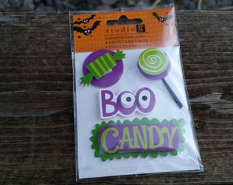 Halloween dimensional stickers - adhesive backs scrapbook embellishment craft supplies, boo, candy - studio g