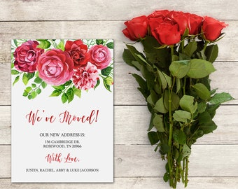 We've Moved Announcement, 5x7 inch, Printable ,Watercolor Floral Wreath, Personalize, New Home, New Address, Flowers, Spring Flowers, Pink