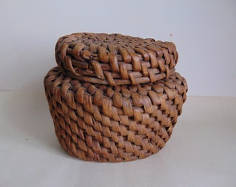 Vintage. Vintage wicker box,Bank.Handmade.
