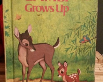"Disney's Wonderful World of Reading ""Bambi Grows Up""/Groiler Book Club Edition/Nursery Decor/Woodland Animals/Vintage 1975 Collectible Book"
