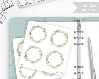 Flower Wreath Stickers, Watercolor Stickers - Journalspiration Bullet Journal Planner Stickers - FW13