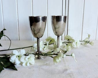 A vintage Swiss, pair of silver plate wine cups, goblets, toasting cups, made for L'Escala by H. Beard