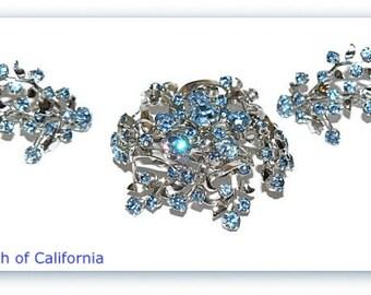 Vintage  Demi Parure Set Rare Light Blue Rhinestone Brooch and Earrings