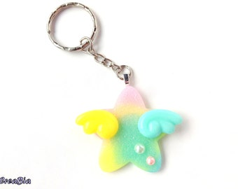 Pastel Galaxy Star Keychain With Pastel Angel Wings, Uchuu Kei, Multi Colored Star, Kawaii Space, Fairy Kei, Pastel kei, Resin Glitter Star