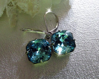 Light Turquoise – Swarovski Crystal Cushion Drop Earrings, Bridesmaid, Bridal, Formal