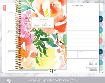 2018 planner | 2018-2019 weekly planner | student planner add monthly tabs | personalized agenda daytimer | citrus watercolor floral