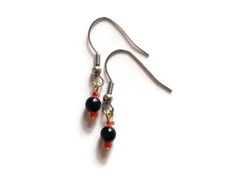 Small Seed Bead Earrings, Black and Red Mini Drop Earrings, Valentines Gift, silver brass stainless steel hooks