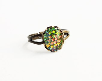 Iridescent Green Ring Dragon Scale Pink Green Glass Ring Rainbow Vintage Fish Scale Thousand Eye Jewelry Adjustable Ring