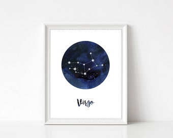Virgo Constellation, Virgo Print, Virgo Home Decor, Virgo Wall Decor, Virgo Wall Art, Zodiac Print, Virgo Stars, Zodiac Constellation