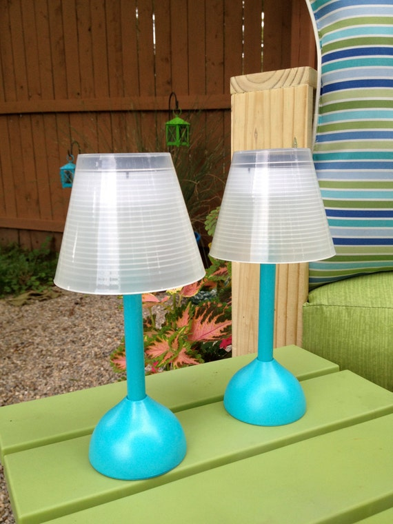 Items Similar To Set Of Two Outdoor Mini Solar Table Lamps. Patio Decor.  Outdoor Lighting. On Etsy