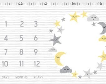 Moon and Star Milestone Photo Mat, Monthly Blanket, Monthly Photo Blanket, Baby Name Blanket, Gender Neutral, Gray and Yellow