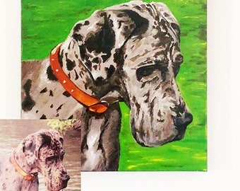 Dog Portrait, Custom Pet Portrait, Dog Lover Gift, Custom Pet Painting, Pet Canvas Art, Dog Art, Pet Loss Gift