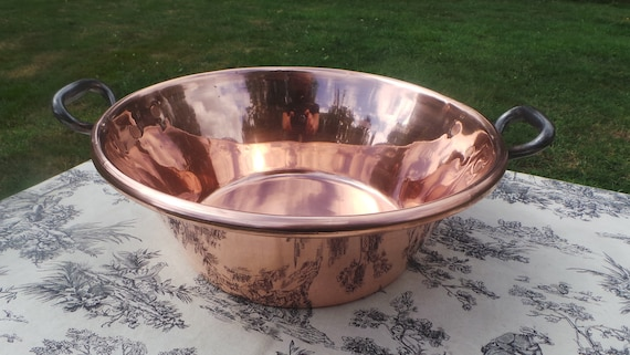 Copper Jam Pan Midi Sized French Copper Pot Vintage Copper French Jam Confiture Jelly Pan Cast Iron Handles Good SIzed Heavy Jam Pan