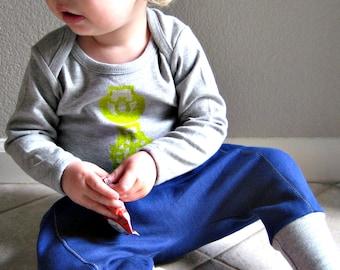 modern baby set - downtown aladdin pants/long sleeve horse brass tee - cobalt/lemon/heather grey