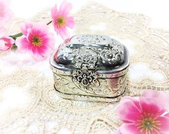 Vintage Silver Reposse Trinket Jar, Reposse Silver Box, Silver Tea Caddy #B310