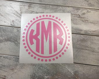 Round Monogram Car Sticker Round Monogram Car Decal Circle Monogram Car Decal Car Monogram Decal Car Window Sticker Laptop Decal