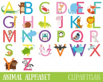 Animal Alphabet Clipart | Uppercase Letters | Safari Animal Letters | Zoo Animal Font