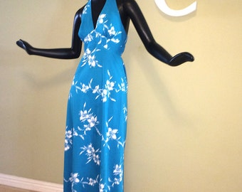 Vintage 70s Tiki Hawaiian Halter Dress 1970s Bright Blue & White Polynesian Tropical Hibiscus Floral Flower Print Cotton by Nani Honolulu S