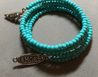 Love My Shoes Turquoise Memory Wire Bracelet