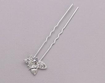 Crystal rhinestone wedding hair pin, bridal hair accessories, rhinestone hairpin, bridal hair pearl, Madyson Crystal Hair Pin