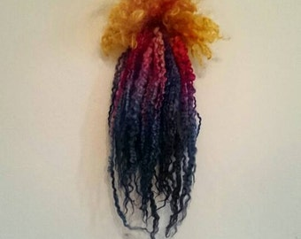 BLAZING COMET - Hand dyed extra long Teeswater locks - spin, felt,  dolls hair. Teeswater wool for craft supply