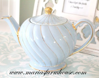 RARE TEAPOT, Vintage, English, Sky Blue Teapot by Sadler, Gold Gilt Srcoll Design, High Tea Party, Wedding Table Decor