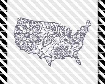 America svg cut file - Patriotic svg - 4th of July cut file - USA svg cut file - 4th of July svg - Floral United States svg - America dxf