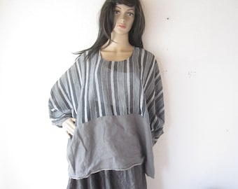 Vintage 80s tunic Shirt linen lined Julia oversize