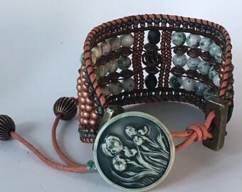 COPPER FOREST, Beaded Cuff, Semi Precious Stone Jewelry, Tree Agate, Cuff Bracelet, Beaded Bracelet, Twinkling Of An Eye, Artisan Jewelry