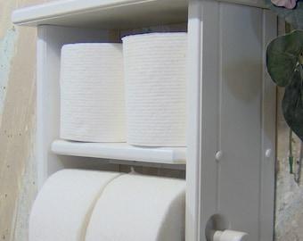 Toilet paper holder white shelf and four roll shelf
