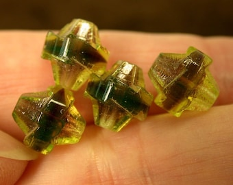 VINTAGE CZECH CATHEDRAL Glass Beads Green purple 10mm faceted pkg4  gl410