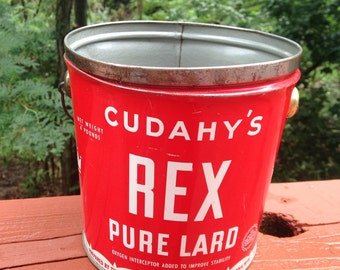 vintage lard bucket container, 4 pound capacity, Cudahy lard can, rustic or primitive country home decor