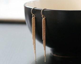 """sleek gold fringe earrings, 14k goldfill earrings, long chain tassel, slim earrings, layered gold earrings, bohemian jewelry, """"saving grace"""""""