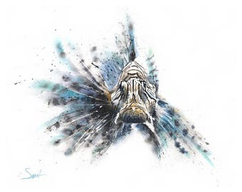 LIONFISH PRINT - lionfish watercolor, zebrafish watercolor, fish watercolor, lionfish painting, fish print, fish wall art, fish lover gift