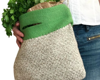 Feutre de marché sac Alice tricoté feutre laine sac à main printemps été mode accessoire naturel vert Croix corps sangle à la main en tricot