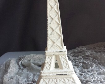 Eiffel Tower Cast Iron Creamy White Old White Romantic Paris Inspired Romantic Shabby Chic Cottage French Farmhouse Style Decor