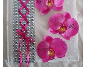 Wedding guestbook fuchsia and white corset, rhinestone and Orchid color choice to customize