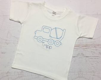Vintage Cement Truck Shirt - Vintage Embroidery - Floss Font - Personalized Shirt - Toddler Boy Shirt - Baby Boy - Transportation Shirt