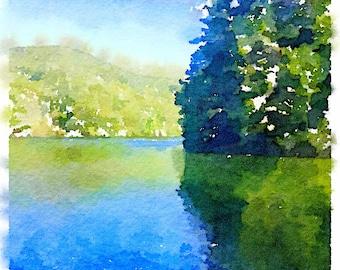 Mountain Lake Watercolor, Helen Georgia, Summer, North Georgia