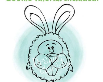 Chick in an Easter Bunny Costume Digital Stamp Art/ KopyKake Image-  SP55-CHICK