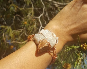 Apophylite copper leafed and copper wrapped cuff
