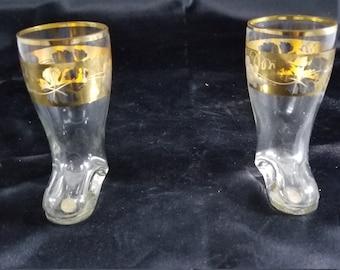 Set of 2 Vintage West German glass boot shot glasses